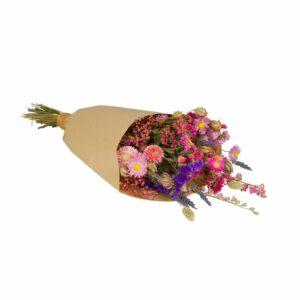 Droogbloemen boeket - roze & paars